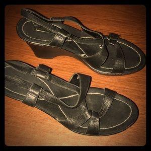 Bandolino Black Strappy Sandal Wedges